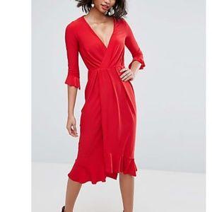 ASOS wrap front midi dress red NWT